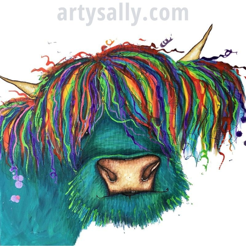 Highland cow (Turquoise) print on canvas