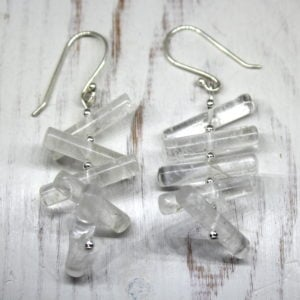 Crystal Quartz & Sterling Silver Drop Earrings