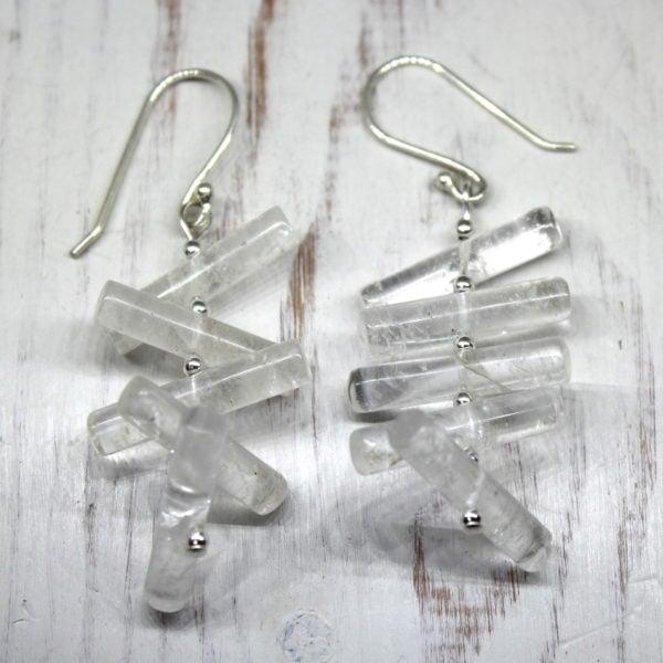 Crystal Quartz & Sterling Silver Drop Earrings