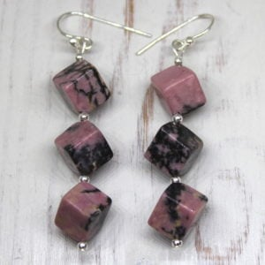 Rhodonite & Sterling Silver Earrings
