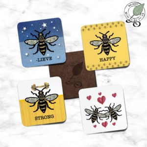 Manchester Bee Coaster Set - Red Hearts