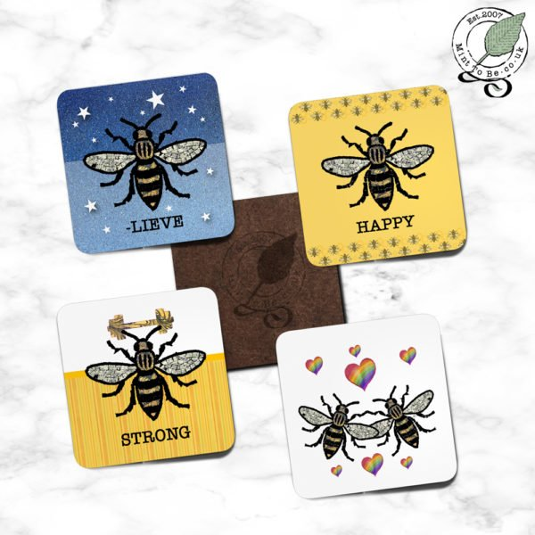 Manchester Bee Coaster Set - Rainbow Heart