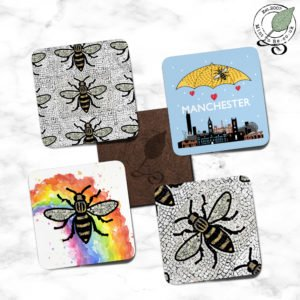 Manchester Bee Coaster Set - Skyline