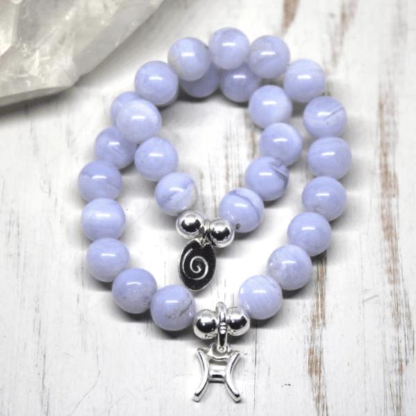 Pisces Zodiac Bracelet - Blue Lace Agate