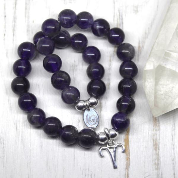 Aries Zodiac Bracelet - Amethyst