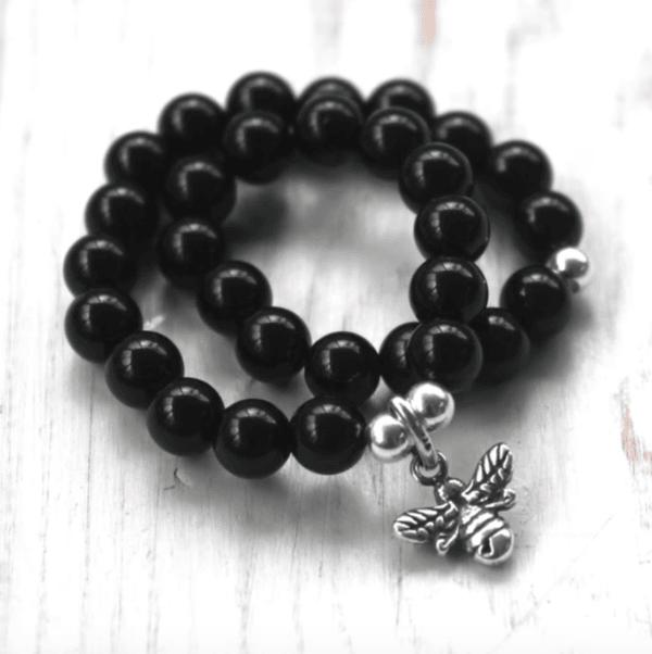 Black Onyx Manchester Bee Bracelet