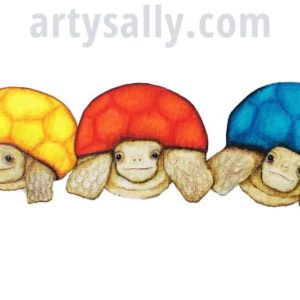 Tortoises in a line -print on canvas