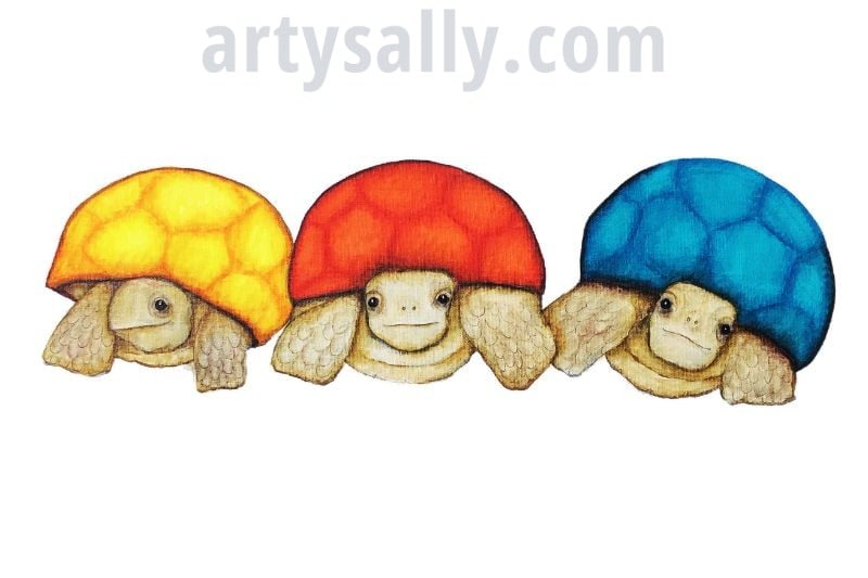 Tortoises in a line – print on canvas