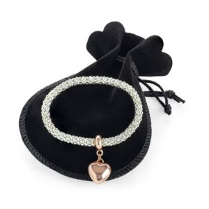 Silver & rose gold colour elasticated heart bracelet