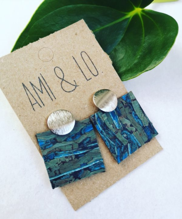 blue ripple cork leather square earring Ami and Lo