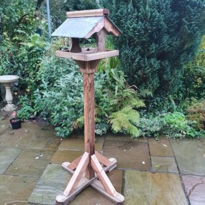 Slate cross stem bird table