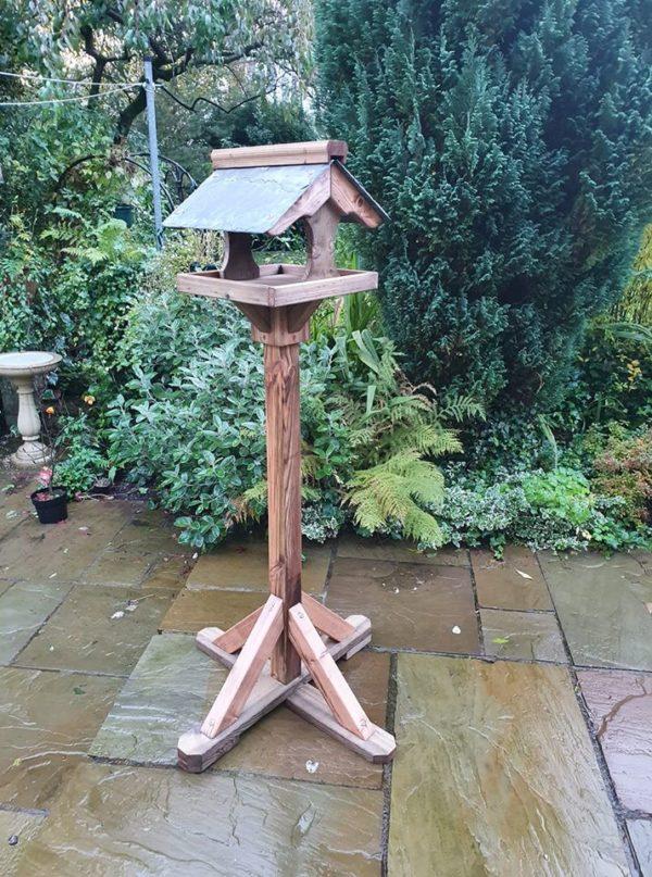 Slate cross stem bird table