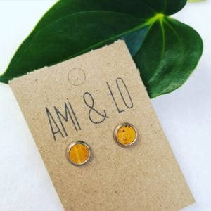 mustard cork leather stud earrings