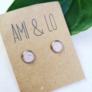 pale pink cork leather stud earring Ami and Lo