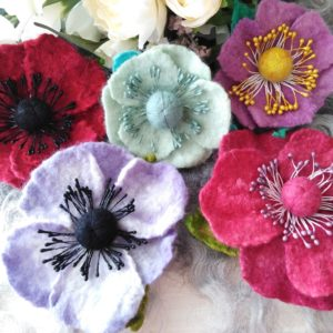 All currently available Hand Felted and Embellished Flower Corsages