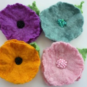 Felted Flower Brooch Kit - all brooches together