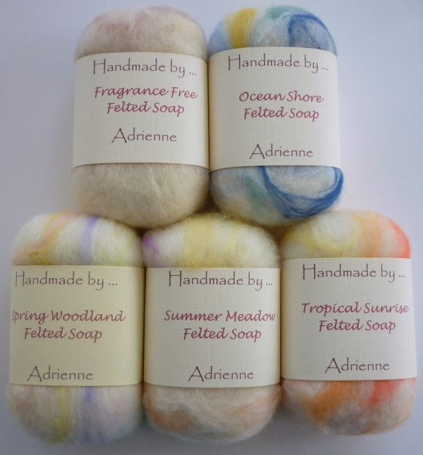 Hand Felted Soaps - Five different fragrance choices
