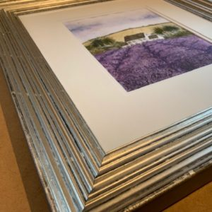 Lavender Original Watercolour in Silver Leaf Solid Wood Frame