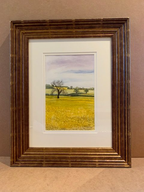 Yellow Rapeseed Original Watercolour in Silver Leaf Solid Wood Frame