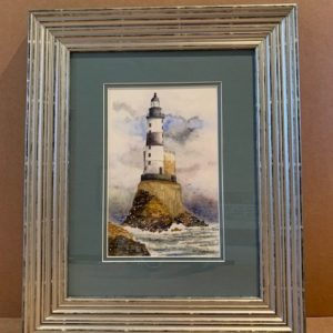 Lighthouse Original Watercolour in Silver Leaf Solid Wood Frame