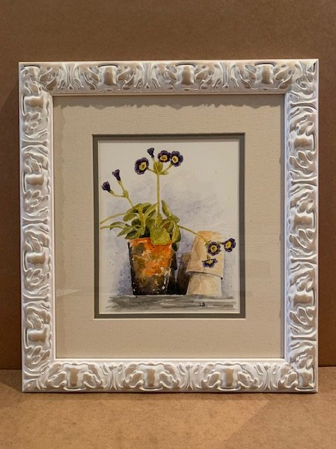 Plant Pots Original Watercolour in Linen White Solid Wood Frame