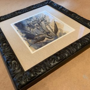 flowers Original Coffee and ink in Black Solid Wood Frame
