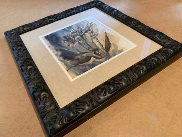 flowers Original Coffee and ink in Black Solid Wood Frame