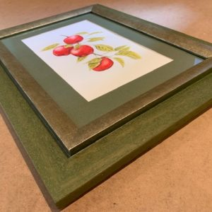 Red Apples Original Watercolour in green colour Solid Wood Frame
