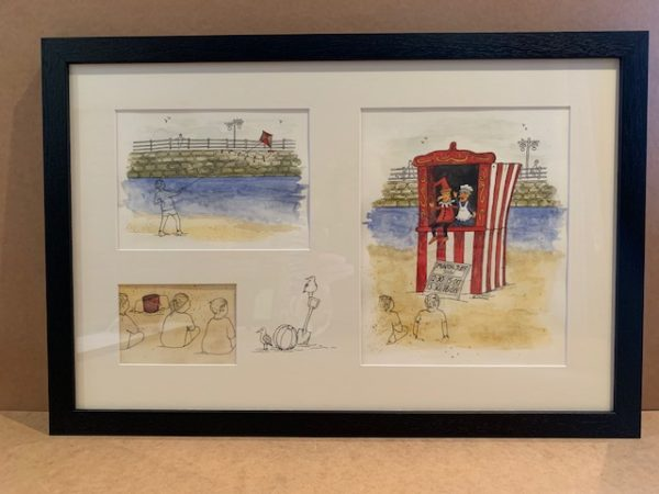 Punch and Judy beach scene Original Watercolour in open grain black colour Solid Wood Frame