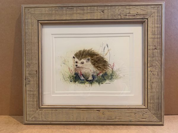 Hedgehog Original Watercolour in chalky distressed sandstone colour Solid Wood Frame