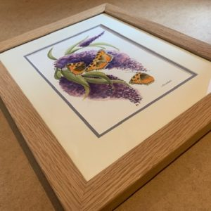 Im attracted to you butterfly scene Original Watercolour in solid oak wax finished Frame