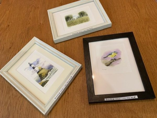 Framed gift card and mount examples