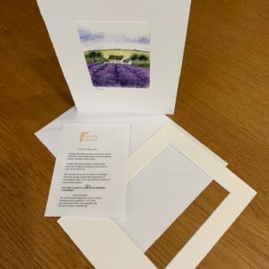 The Scent of Lavender gift card white mount and envelope inserts