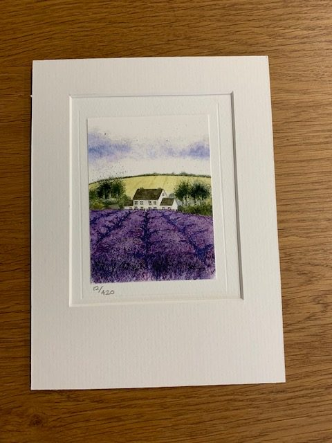The Scent of Lavender gift card and white mount