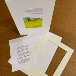 Fields of Glory gift card white mount and envelope inserts