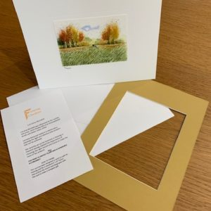 Autumn Dog Walks gift card white mount and envelope inserts