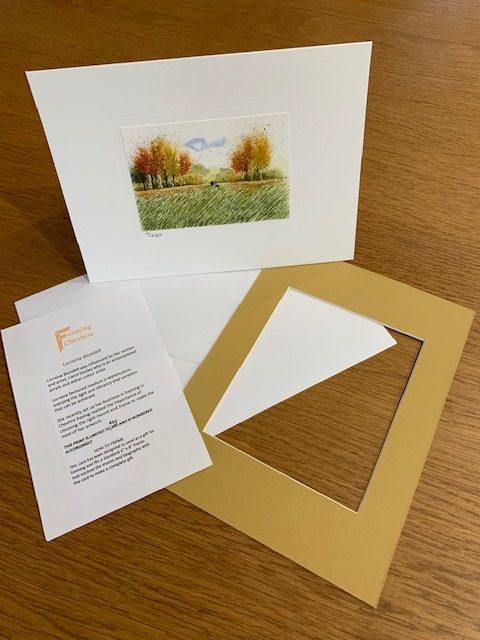 Autumn Dog Walks gift card white mount and envelope inserts