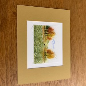 Autumn Dog Walks gift card and white mount