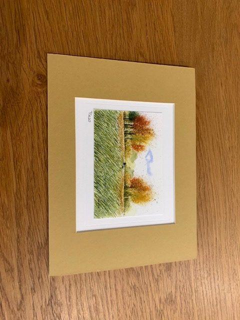 Autumn Dog Walks gift card and white mount