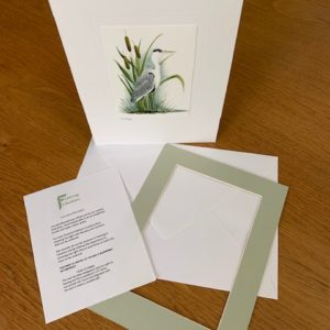 Heron gift card light green mount and envelope inserts