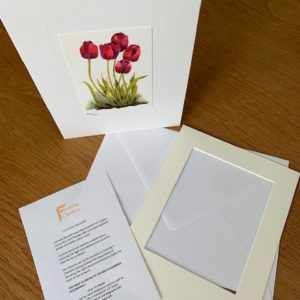 Tulips Of Confidence gift card white mount and envelope inserts