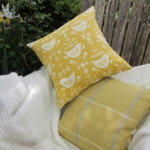 Yellow Bird Feather Cushion - 18''