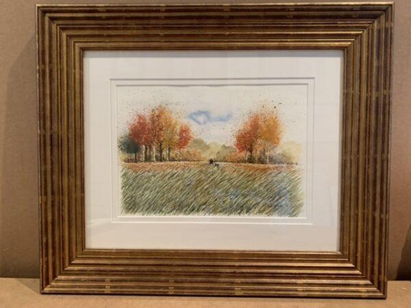 Autumn Walk original Watercolour in Gold Leaf Solid Wood Frame