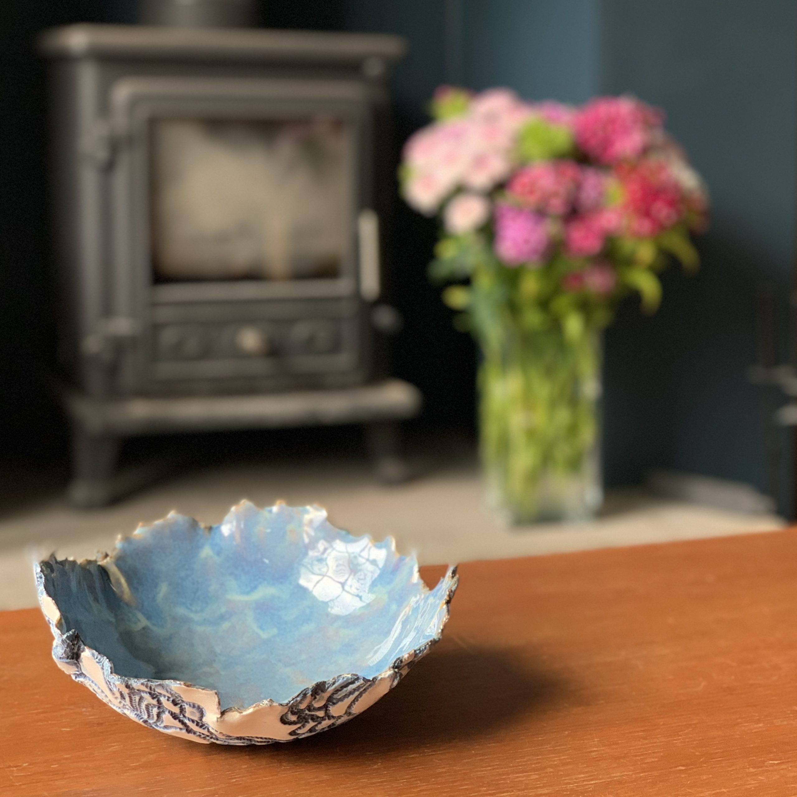 Lace Imprinted Porcelain Bowl