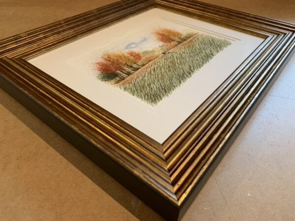 Autumn Walk original Watercolour in Gold Leaf Solid Wood Frame 3D