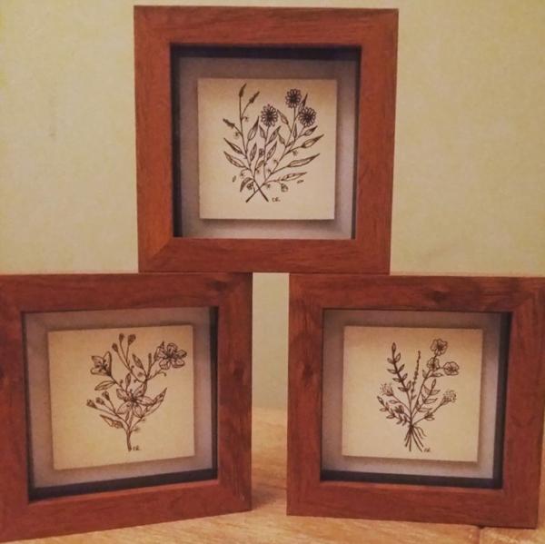 Set of 3 botanical art
