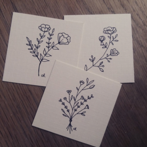 Set of 3 Minature Botanical Art