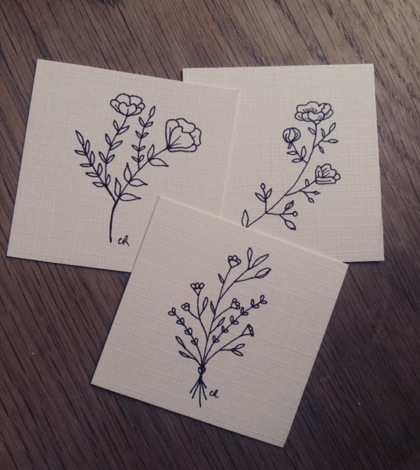 Set of 3 Minature Botanical Art