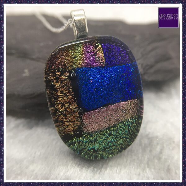 Fused Dichroic Glass Patchwork Pendant