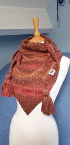Merino Triangle Scarf, autumn colours, tassels, Scruffy Dog Creations